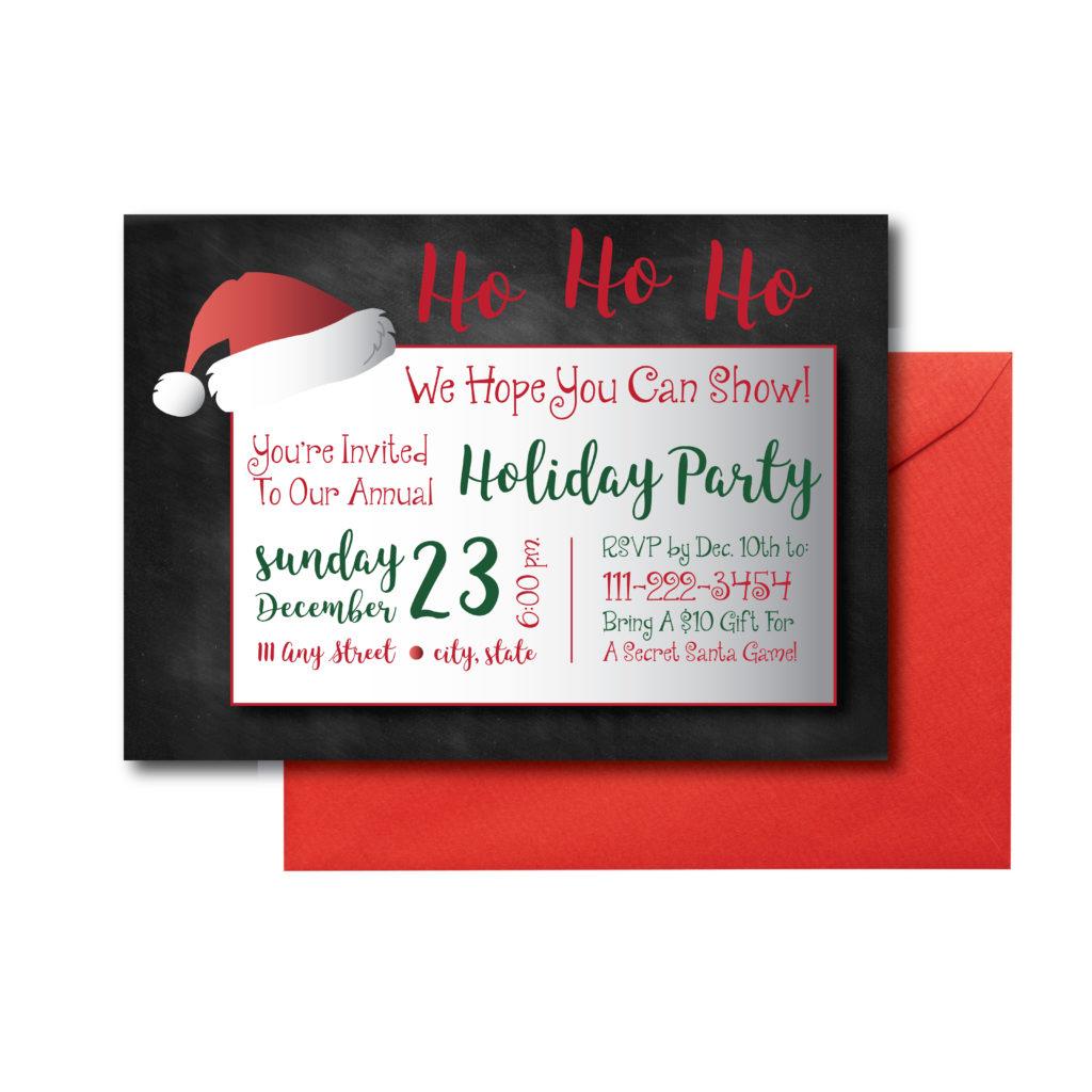Chalkboard Santa Themed Invite