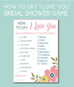 """Bridal Shower Game How to Say """"I Love You"""""""