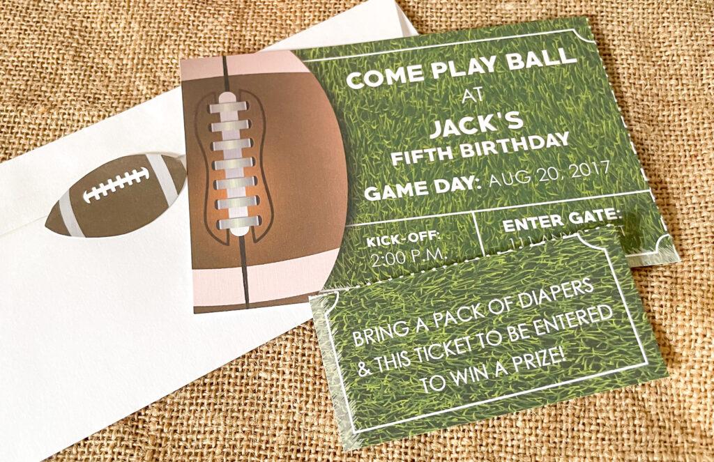 football invite with tear off diaper raffle