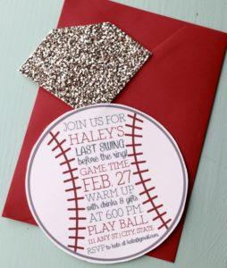 Non-traditional Bridal Showers: Baseball Invite