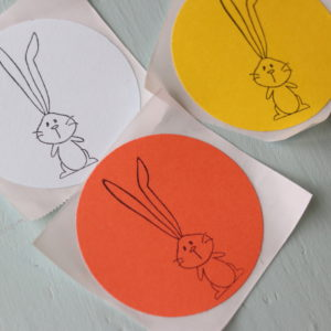 Colorful Circle Bunny Stickers