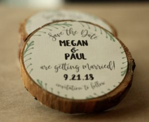 Fun Shaped Save the Date Tree Slice