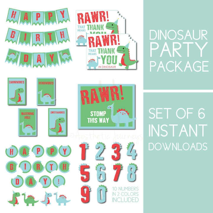 6 instant downloads for a dinosaur party