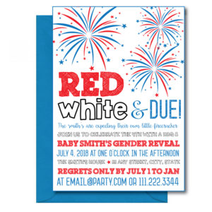 July 4th Gender Reveal Invite