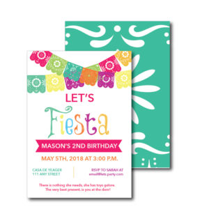 Fiesta Themed Birthday Party Invite with double sides