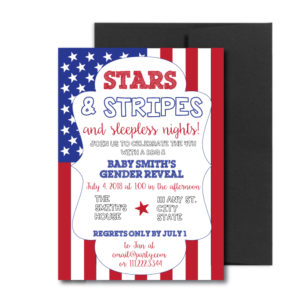 July 4th Themed Gender Reveal Invite