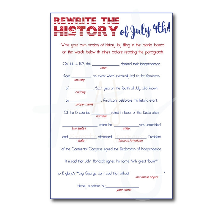July 4th Mad Libs