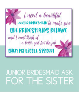 Sister of the Bride Junior Bridesmaid Card