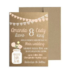 Rustic Lace Bunting Wedding Invite