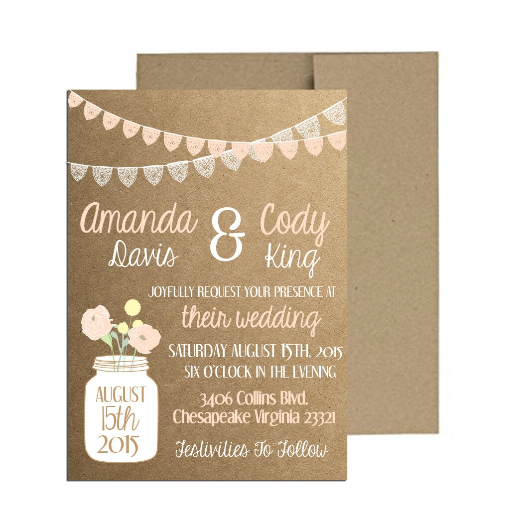 Rustic Lace Bunting Wedding Invite