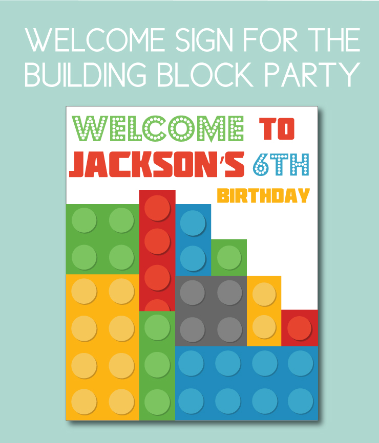 Building Block Themed Welcome Sign