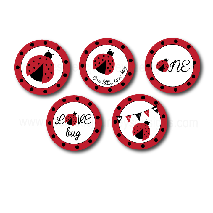 Love Bug Themed Stickers or Cupcake Toppers