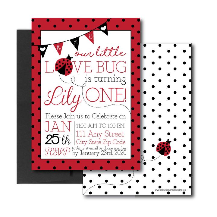 1st Birthday Invitation with Love Bug Theme