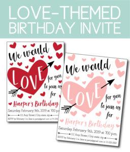Love Themed Birthday Party Invite