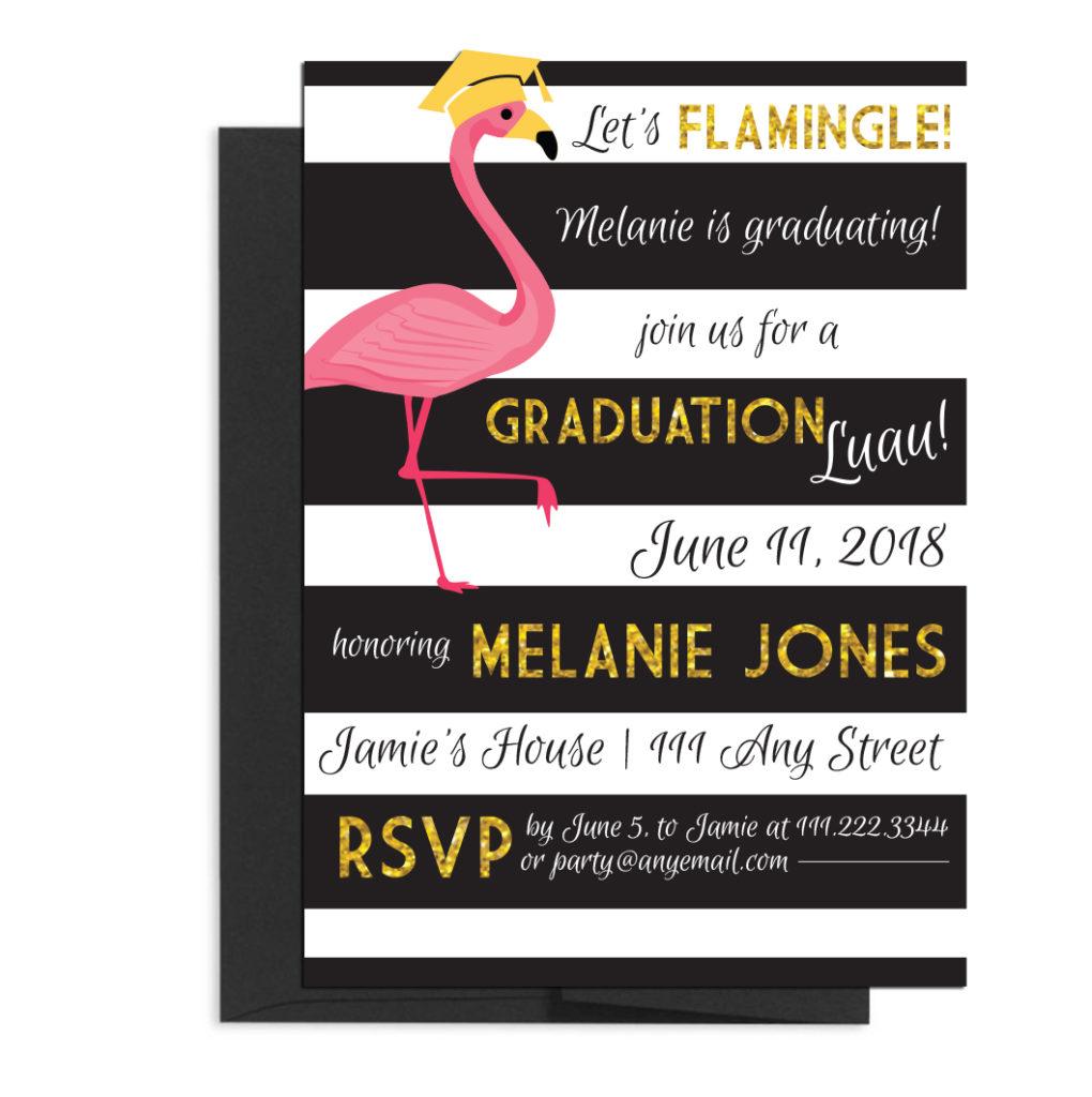 Flamingo Themed Luau Graduation Invite