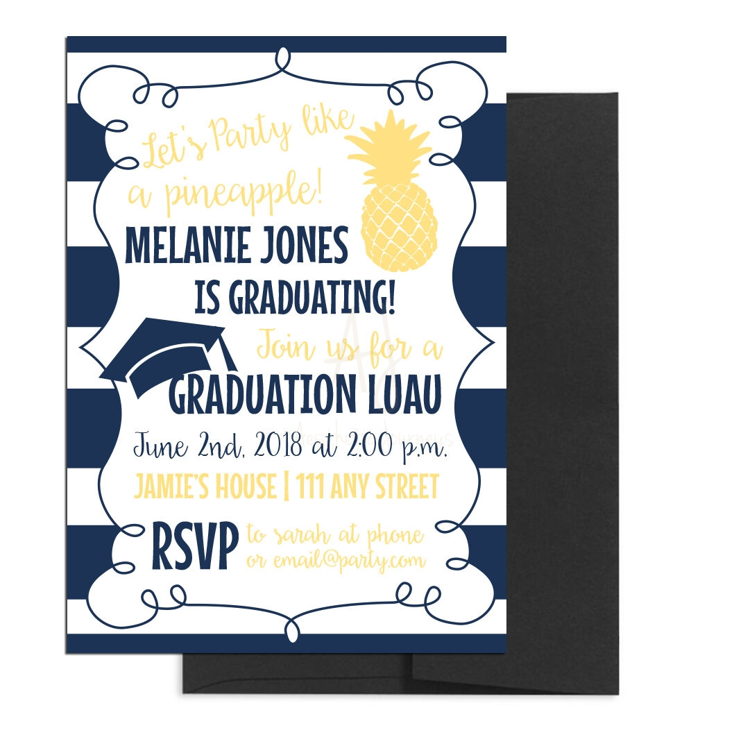 Hawaiian Themed Luau Graduation Invite