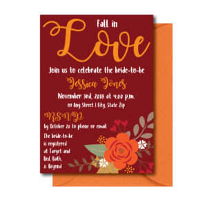 Maroon Fall Bridal Shower Invite