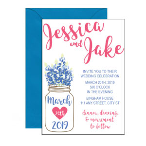 Floral mason jar invitations