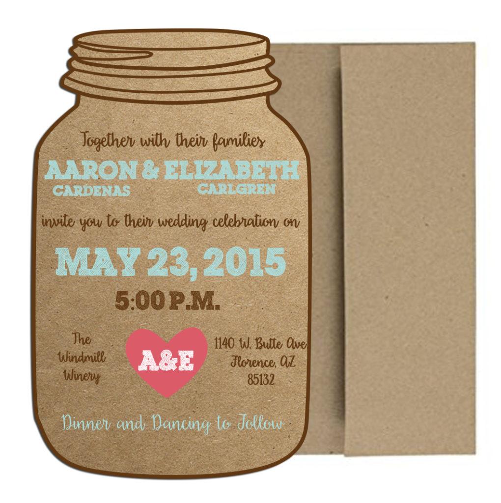 rustic mason jar invite
