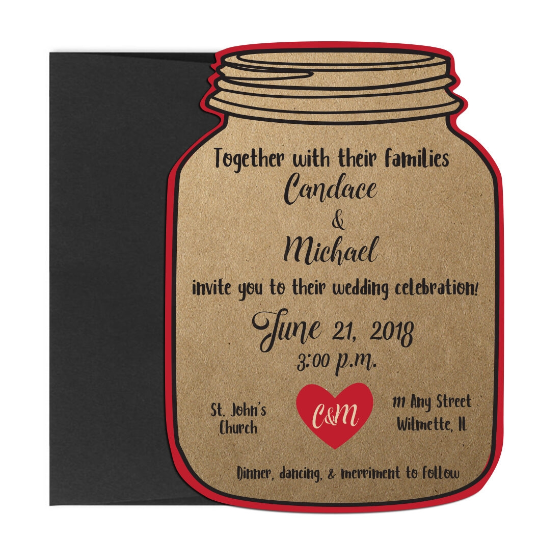 Rustic Mason Jar Shaped Wedding Invite