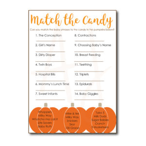 Match the Candy Baby Shower Game