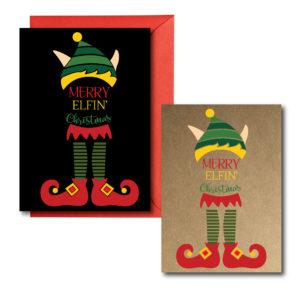 Printed Elf Themed Christmas Cards