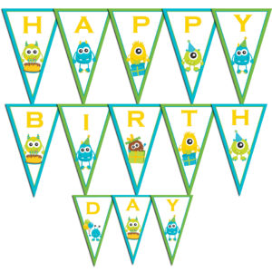 monster happy birthday banner