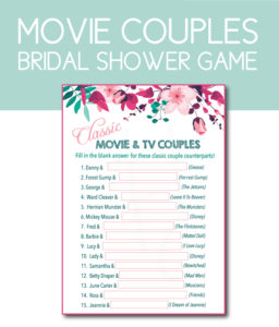 Match the Classic Movie Couples Bridal Shower Game