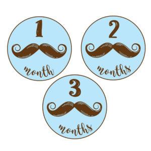 mustache baby milestone stickers