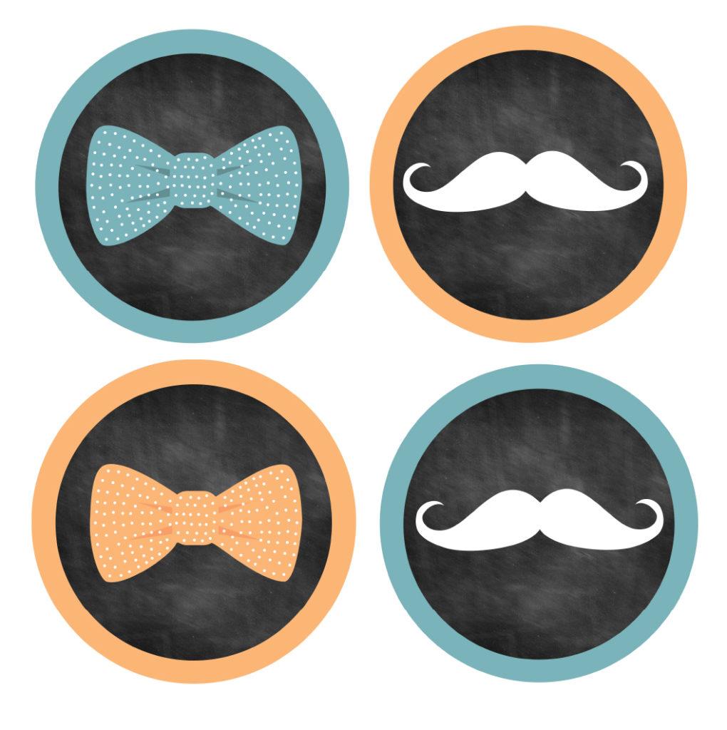 Bow Tie Mustache Stickers
