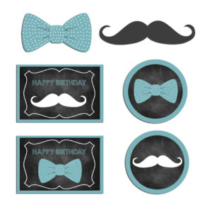Bow Tie Mustache Cupcake Toppers