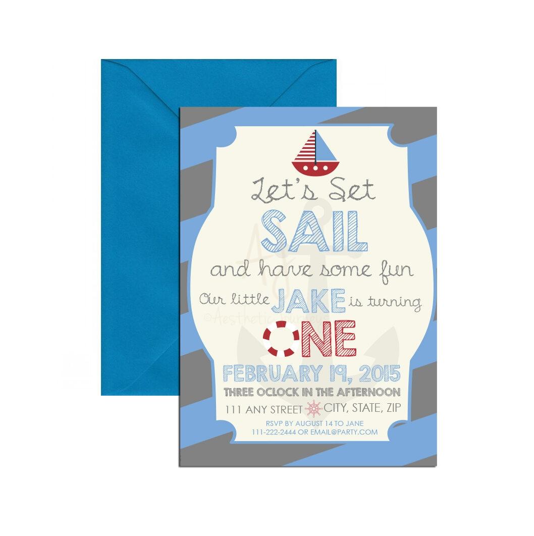blue nautical themed invite