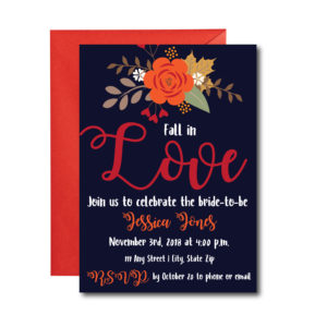 Navy Fall Bridal Shower Invite