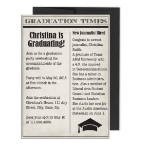 Newspaper Themed Graduation Invite