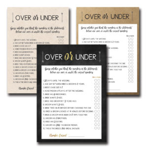 Over or Under Bridal Shower Game
