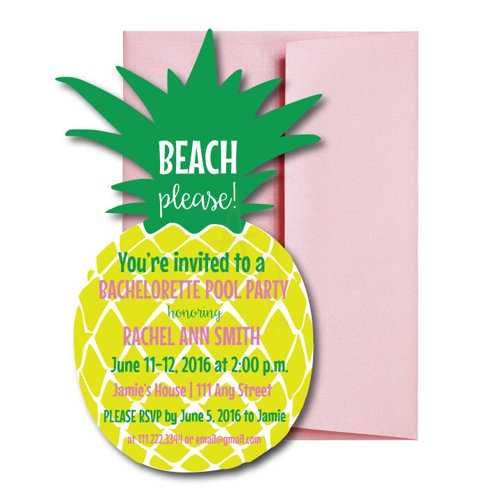 Pineapple Shaped Bachelorette Invite