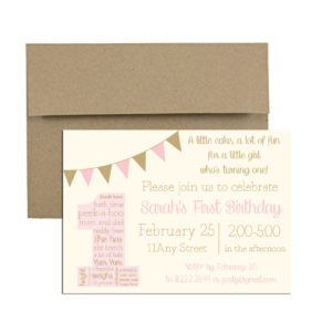 pink and gold birthday party invite