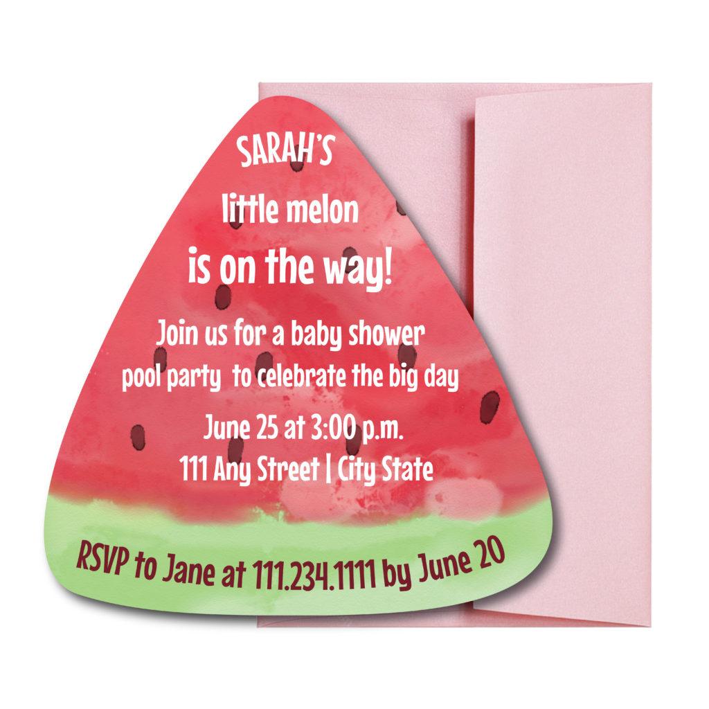 Watermelon Shaped Baby Shower Invite