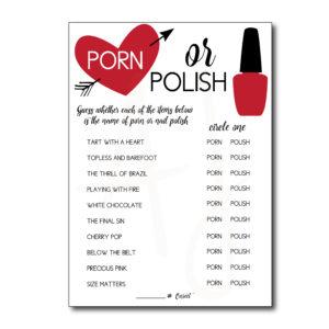 Porn or Polish Bridal Shower Game