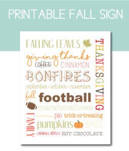 Fall Themed Printable Sign