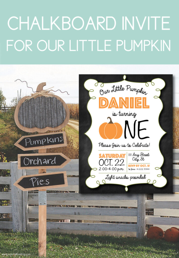 pumpkin invites for birthdays with chalkboard back