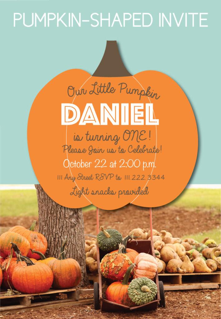 pumpkin birthday invites in pumpkin shape