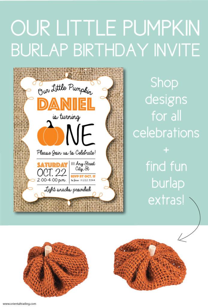 our little pumpkin burlap birthday invite