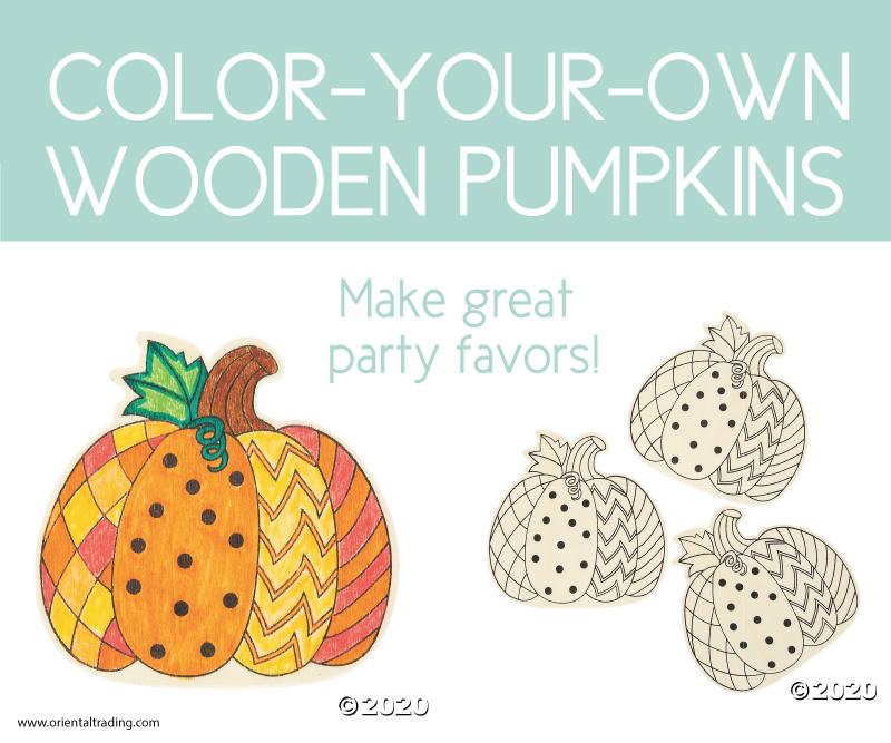 color-your-own wooden pumpkins