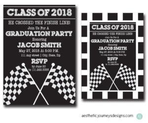 Race Themed Graduation Invites