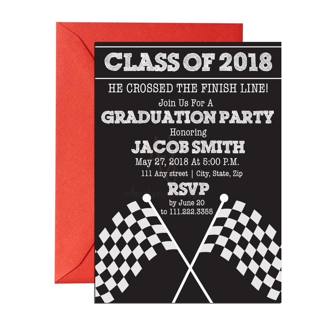 Race.GradRace Themed Graduation Invite