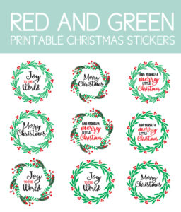 Red and Green Christmas Garland Stickers