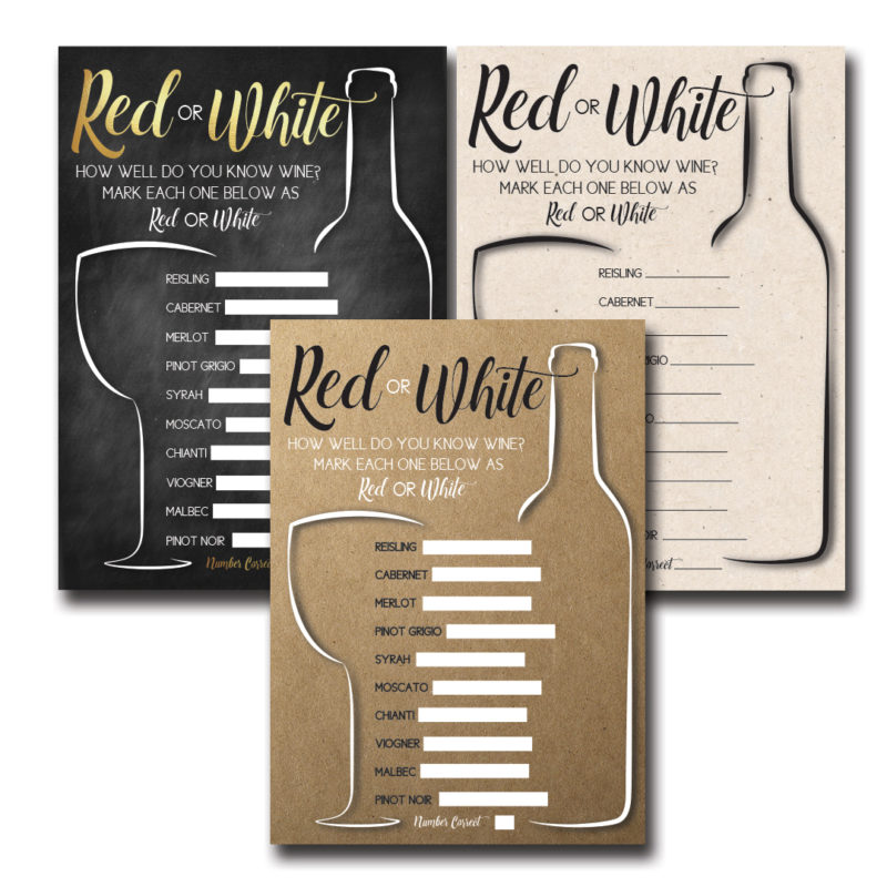 Red or White Wine Shower Game