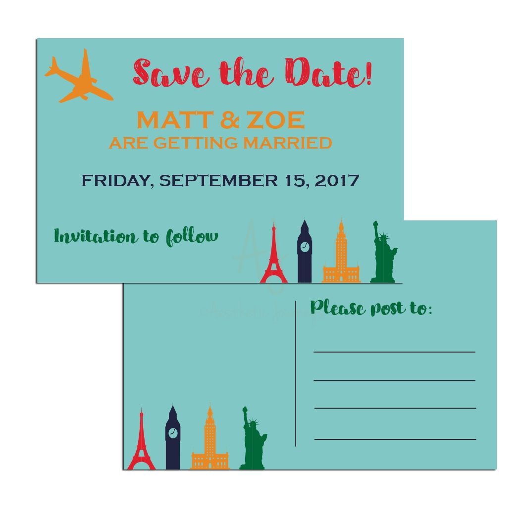 Retro Postcard Travel Themed Save the Date