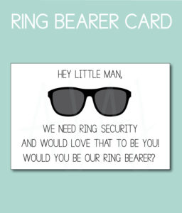 Ring Bearer Card for the friend or family member of the Bride and Groom